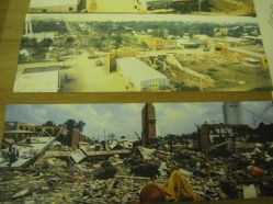 You can see them constructing the fake storefronts in the top picture. In the bottom picture the entire town is buried in debris.