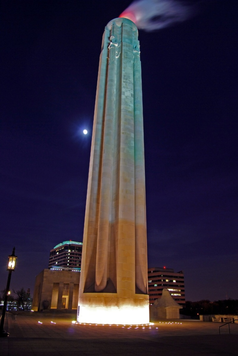 Liberty Memorial at night