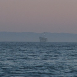 Oil rig platforms off the coast